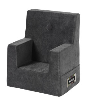 By KlipKlap kids chair velvet anthracite grey w grey