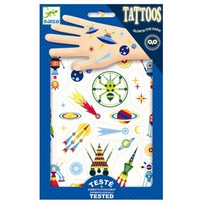 DJ09590 Djeco Tattoos space selvlysende